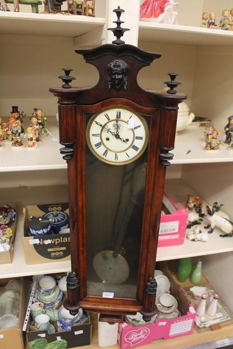 Lot 4009 - A mahogany wall clock