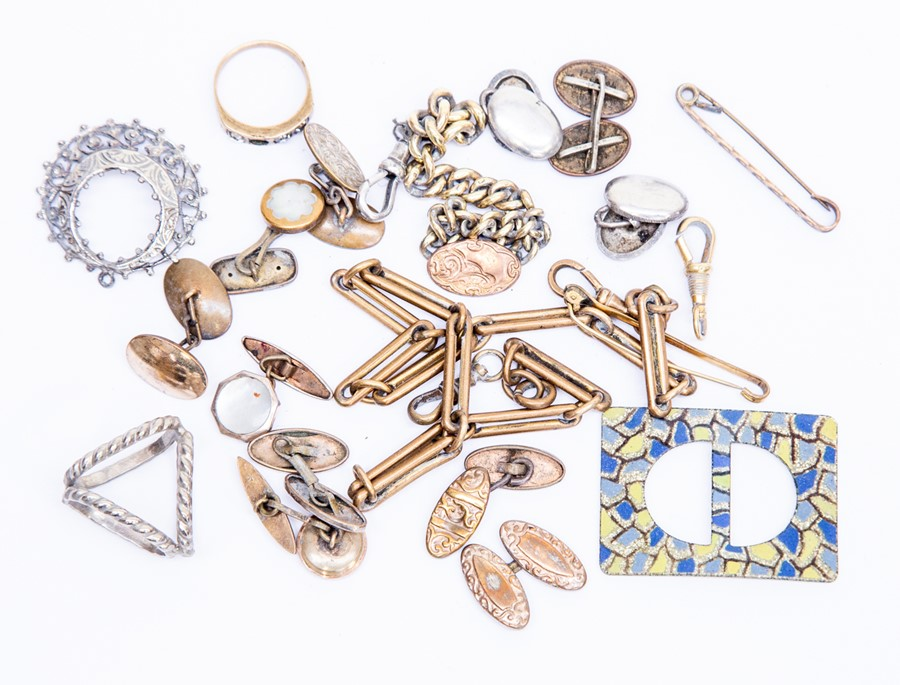 Assorted cuff links, some gold metal fronted, watch chain etc parcel lot