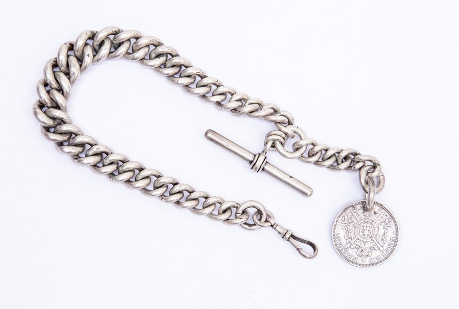 Lot 170 - A heavy silver graduated Albert chain, with swivel clasp and T bar, length approx 16'', with