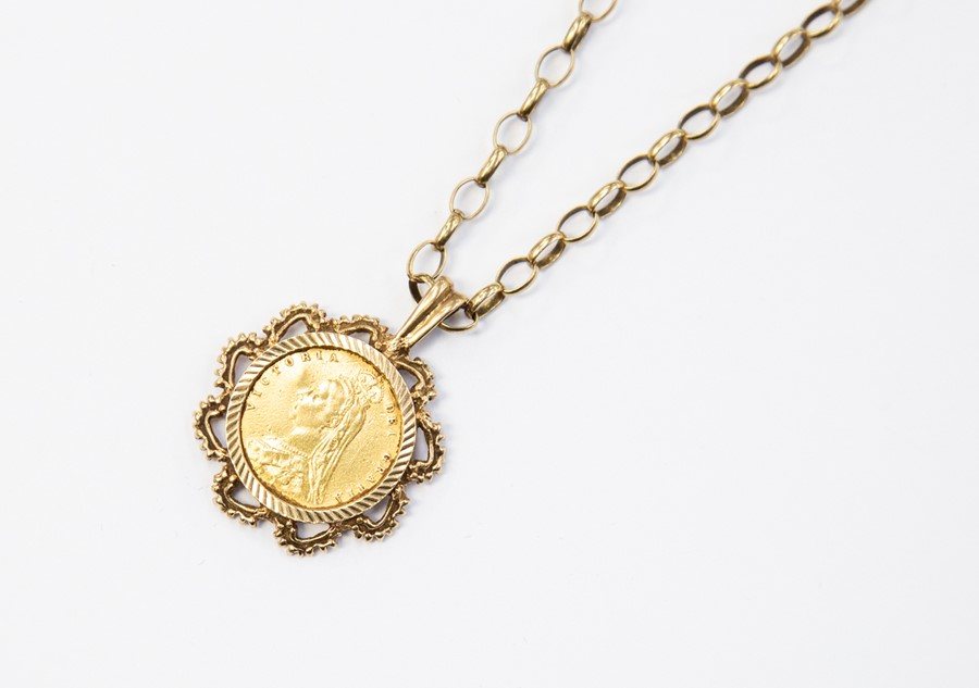 Lot 281 - A half Sovereign mounted in 9ct gold, with a 9ct gold belcher chain, total gross weight approx.