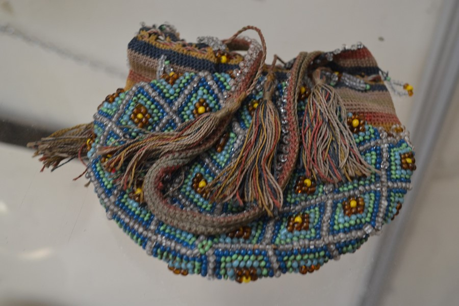 19th Century beadwork ladies bag, with tassels and fringe bead detail, amber, blue and turquoise - Image 2 of 2