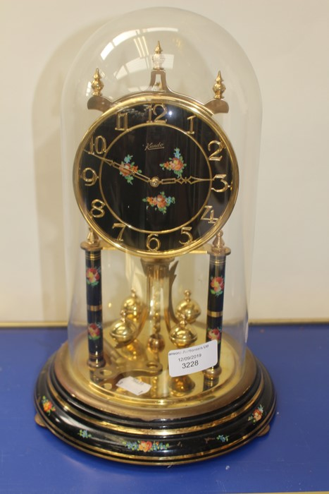**AWAY**Kundo anniversary clock, 20th Century with floral detail
