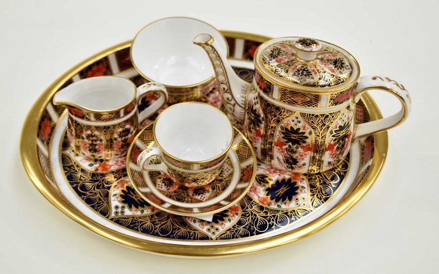 Miniature Royal Crown Derby Imari 1128 coffee tea set comprising, tray coffee pot, sugar bowl, cup
