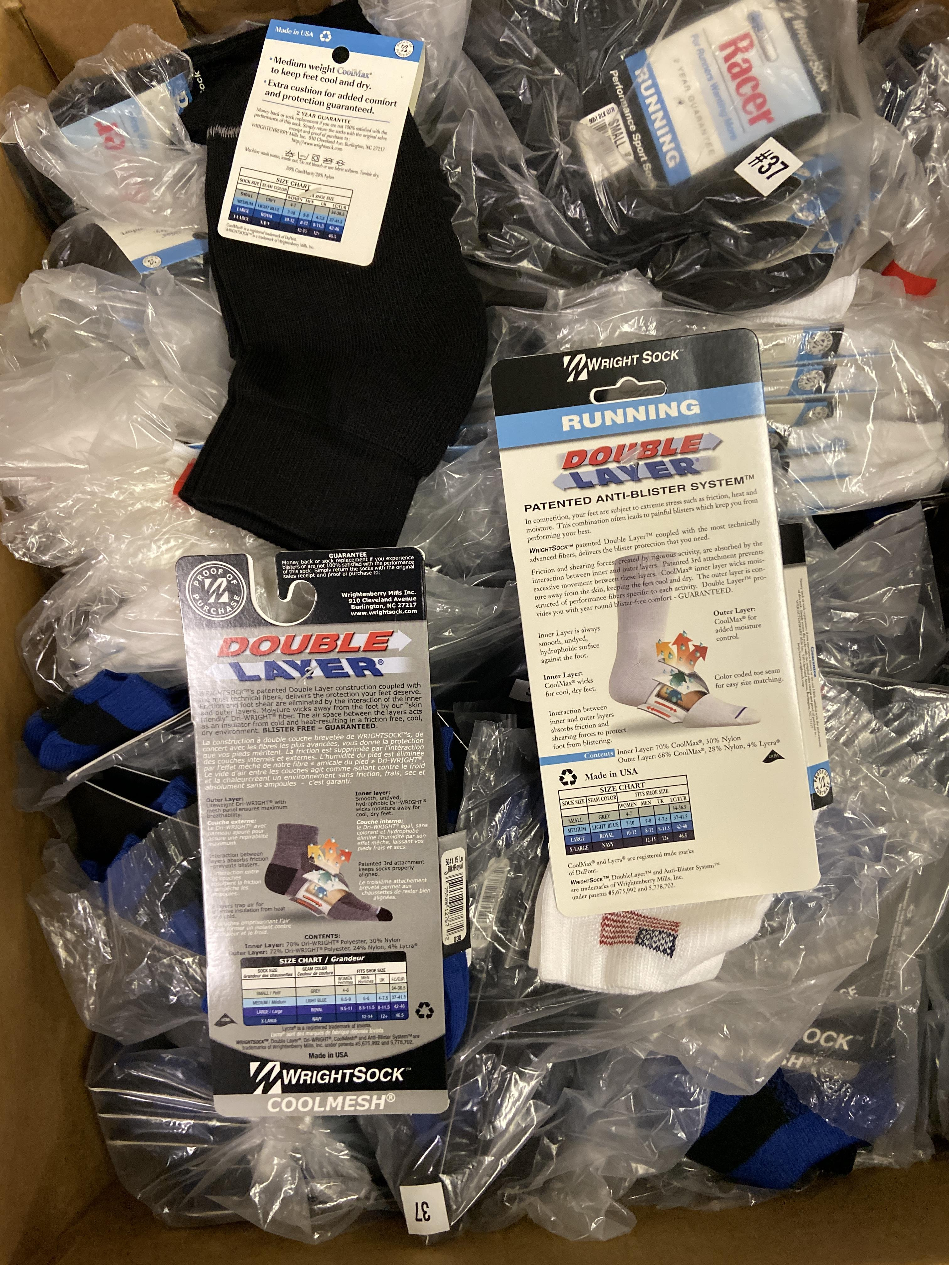 250+ packs of New Socks, Wrightsock Running and Coolmesh, Double Layer, Various Colors - Image 3 of 3