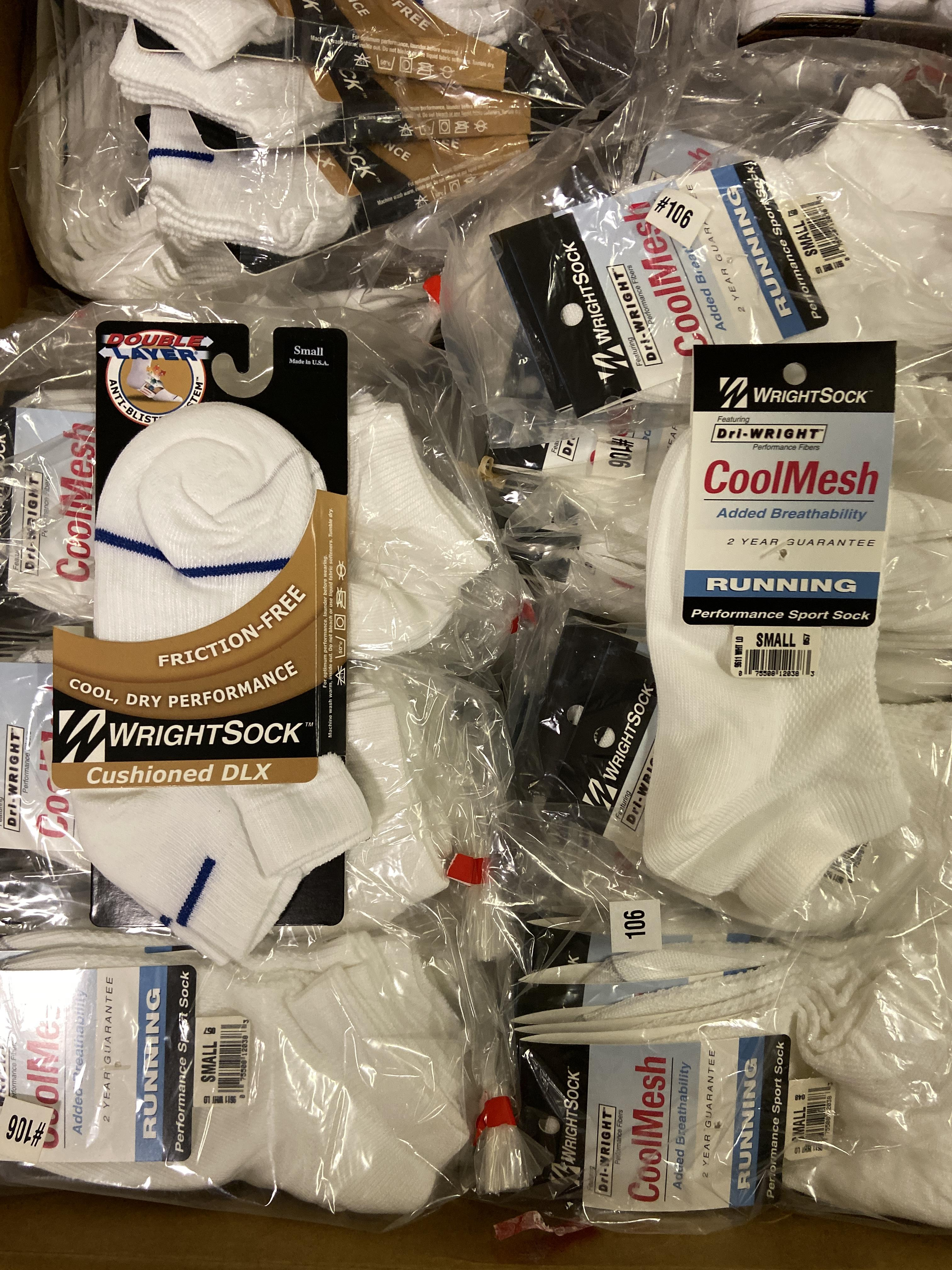 500+ packs of New Socks, Wrightsock Various Styles, Double Layer, Various Colors White/Black/Etc - Image 6 of 7