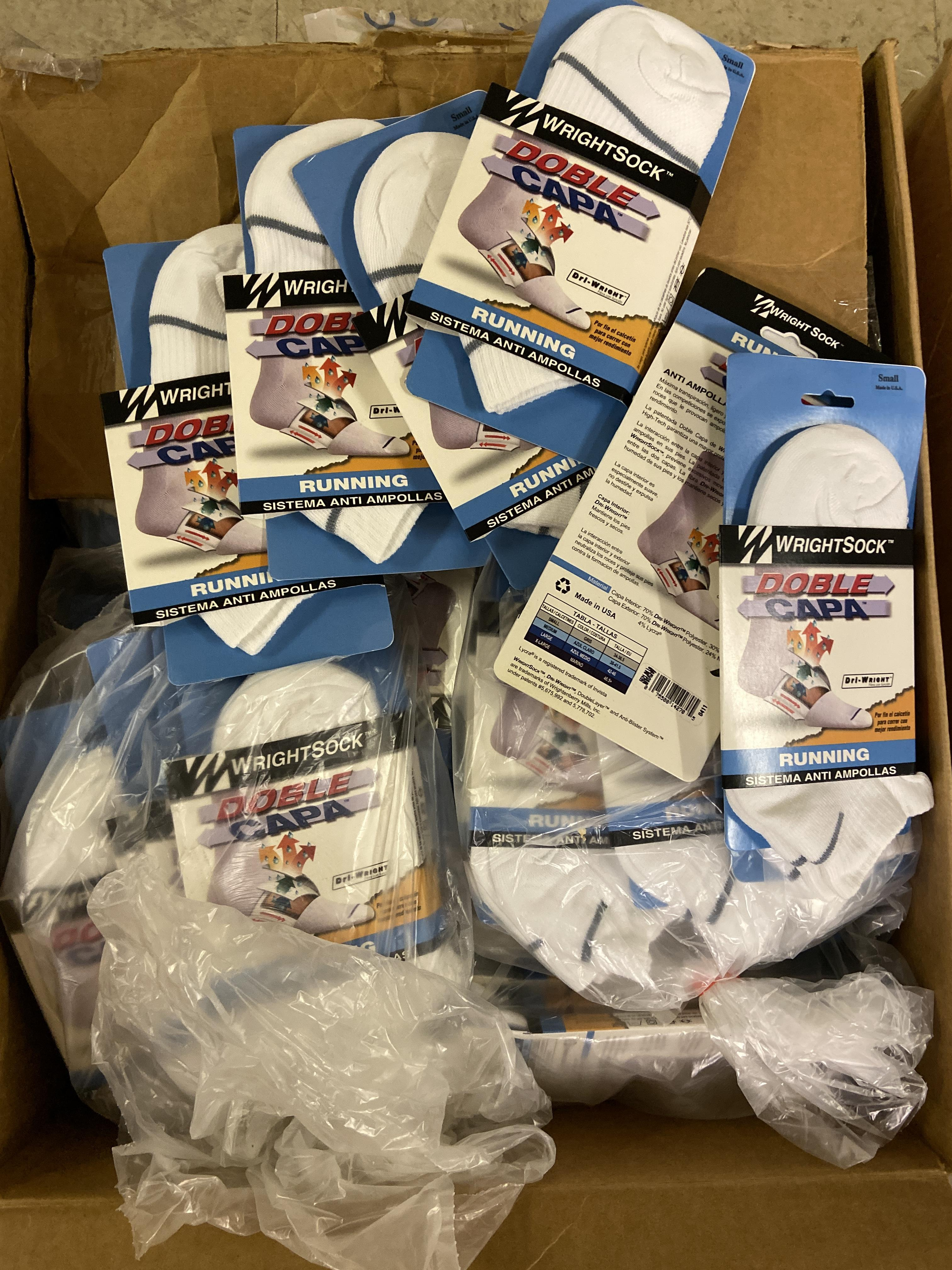 250+ packs of New Socks, Wrightsock Running, Double Layer, White with Gray Stripe