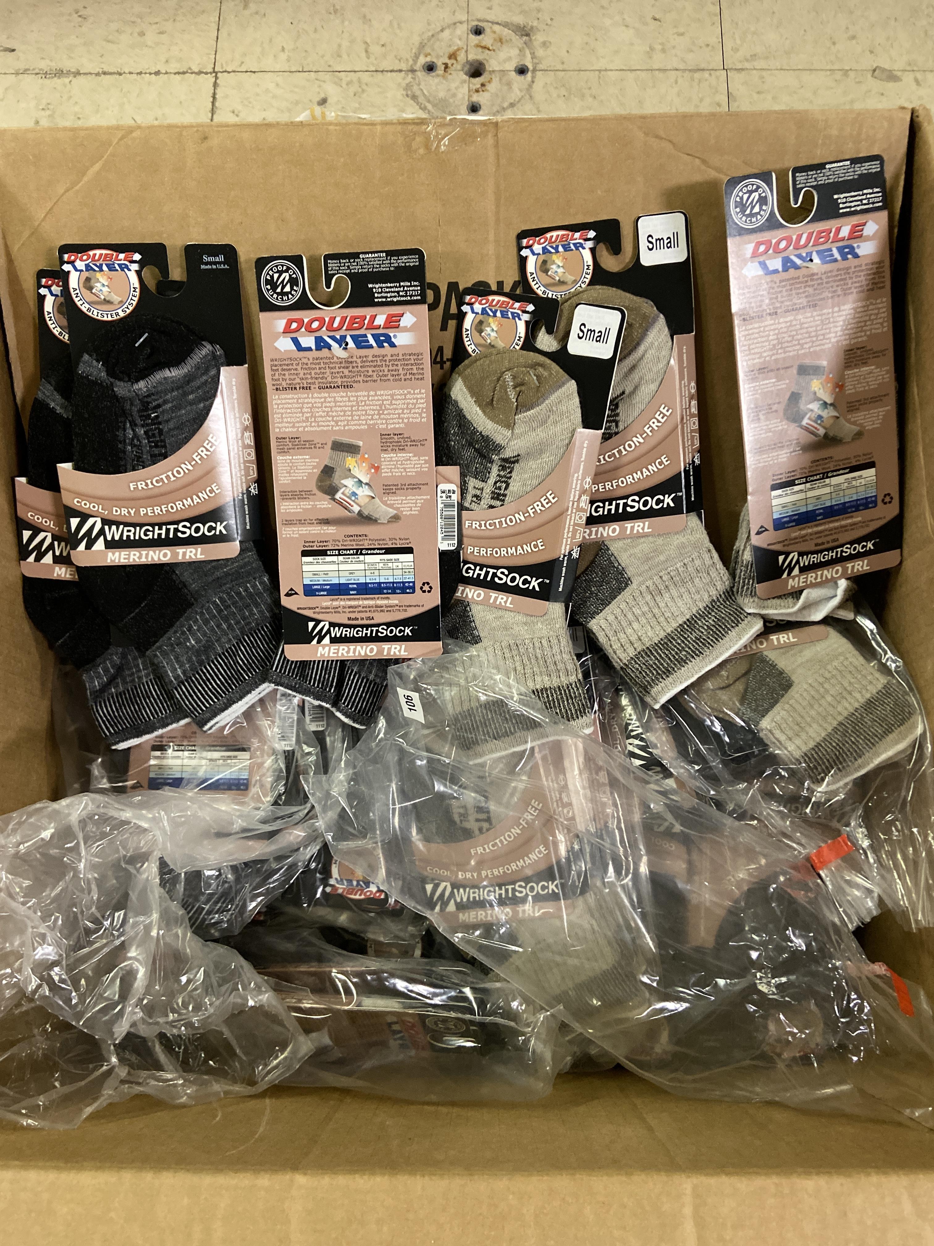 250+ packs of New Socks, Wrightsocks Merino TRL, Double Layer, Black/Gray/Tan