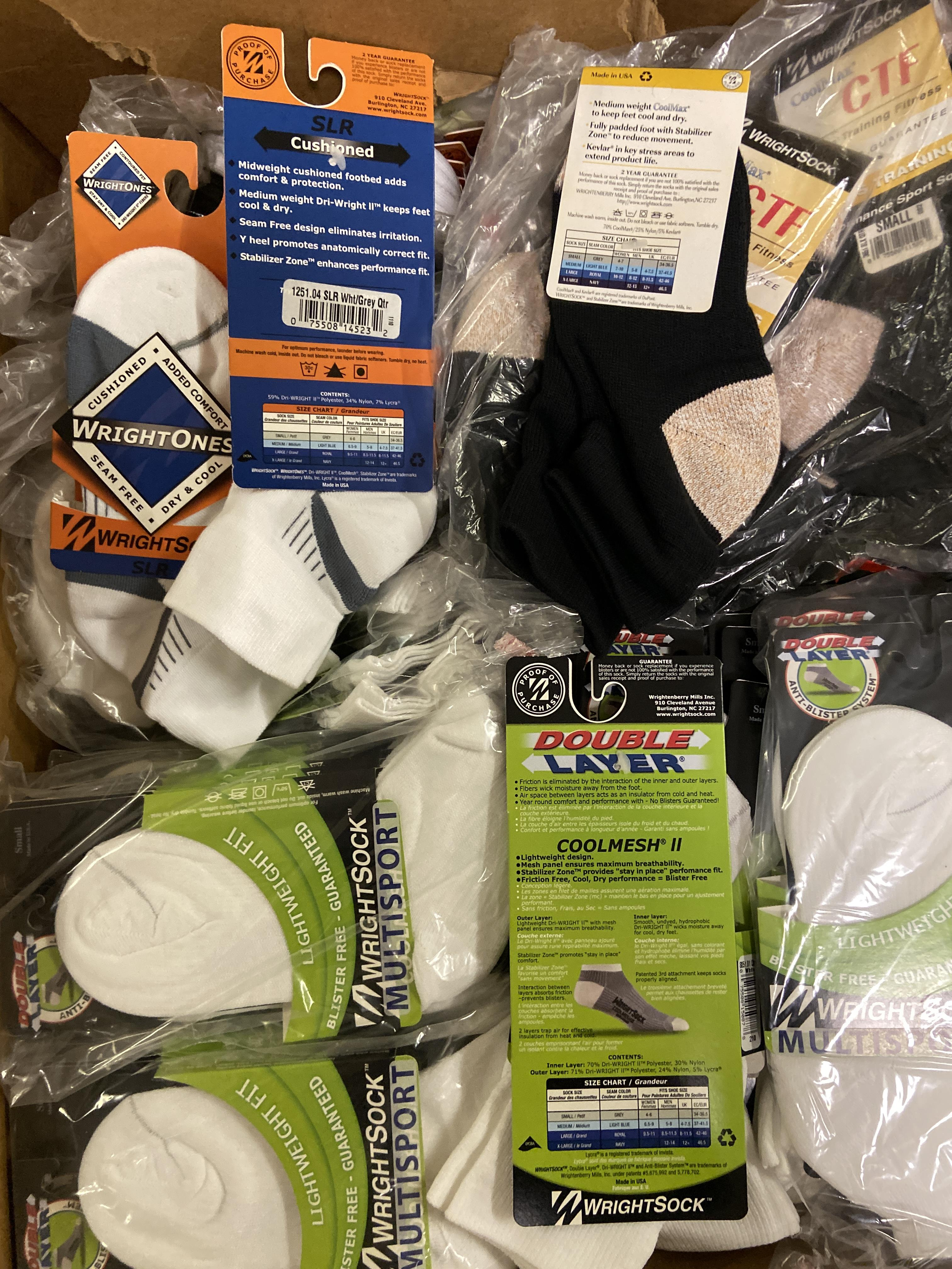 250+ packs of New Socks, Wrightsock Various Styles, Various Colors - Image 3 of 3