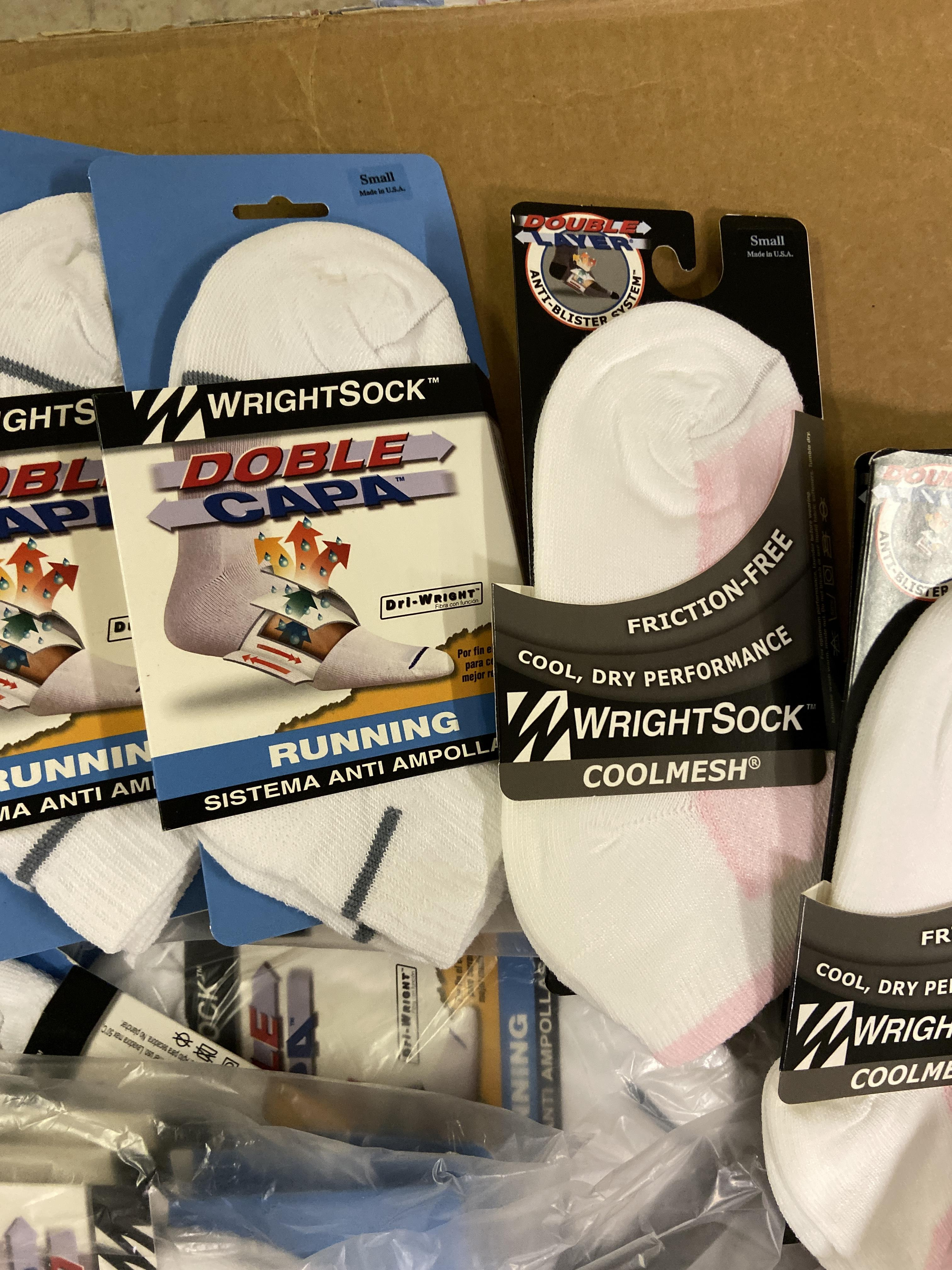 500+ packs of New Socks, Wrightsock Running and Coolmesh, Double Layer, White w. Various Stripes - Image 4 of 7