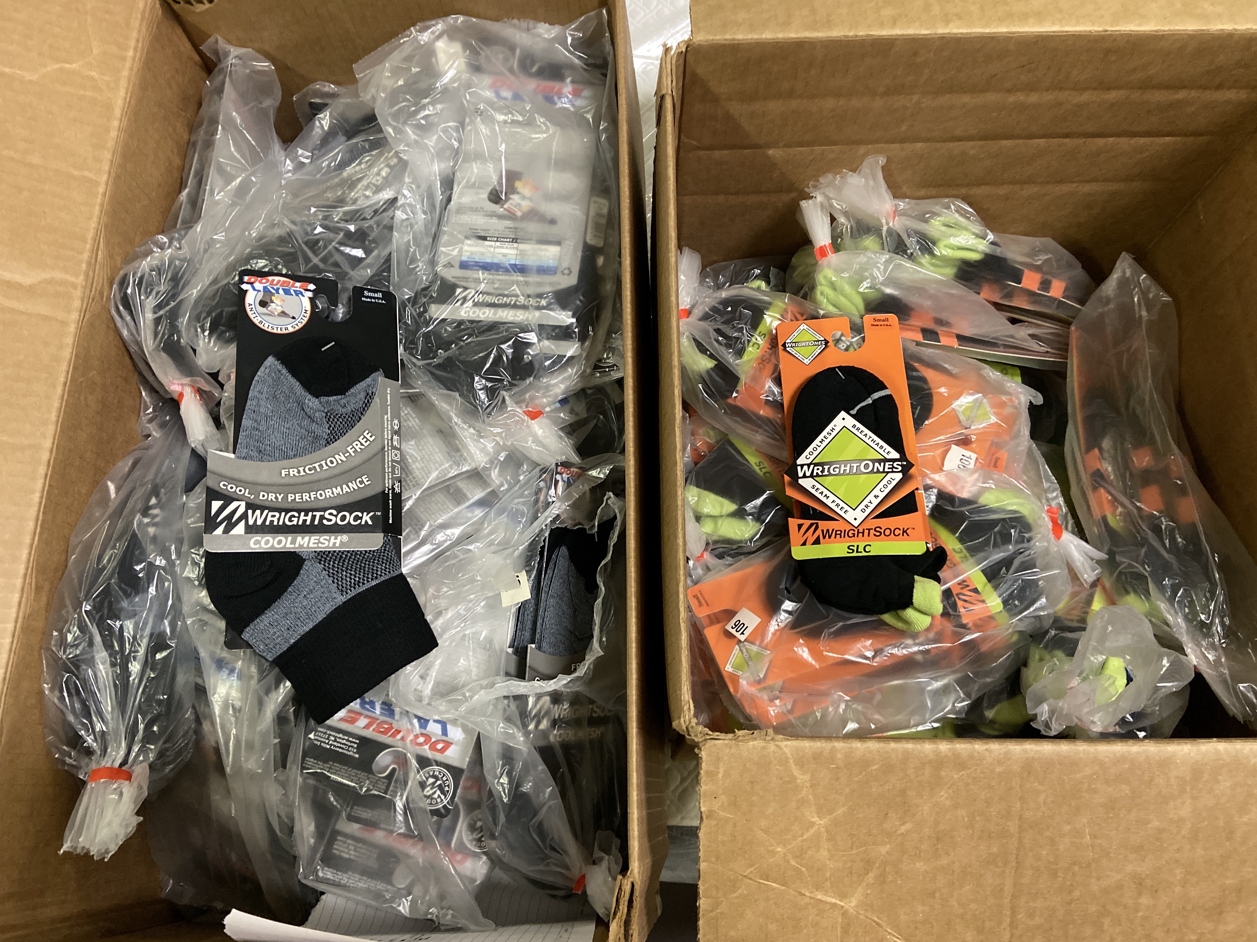 150+ packs of New Socks, Wrightsocks Coolmesh and SLC, Various Black Styles/Colors