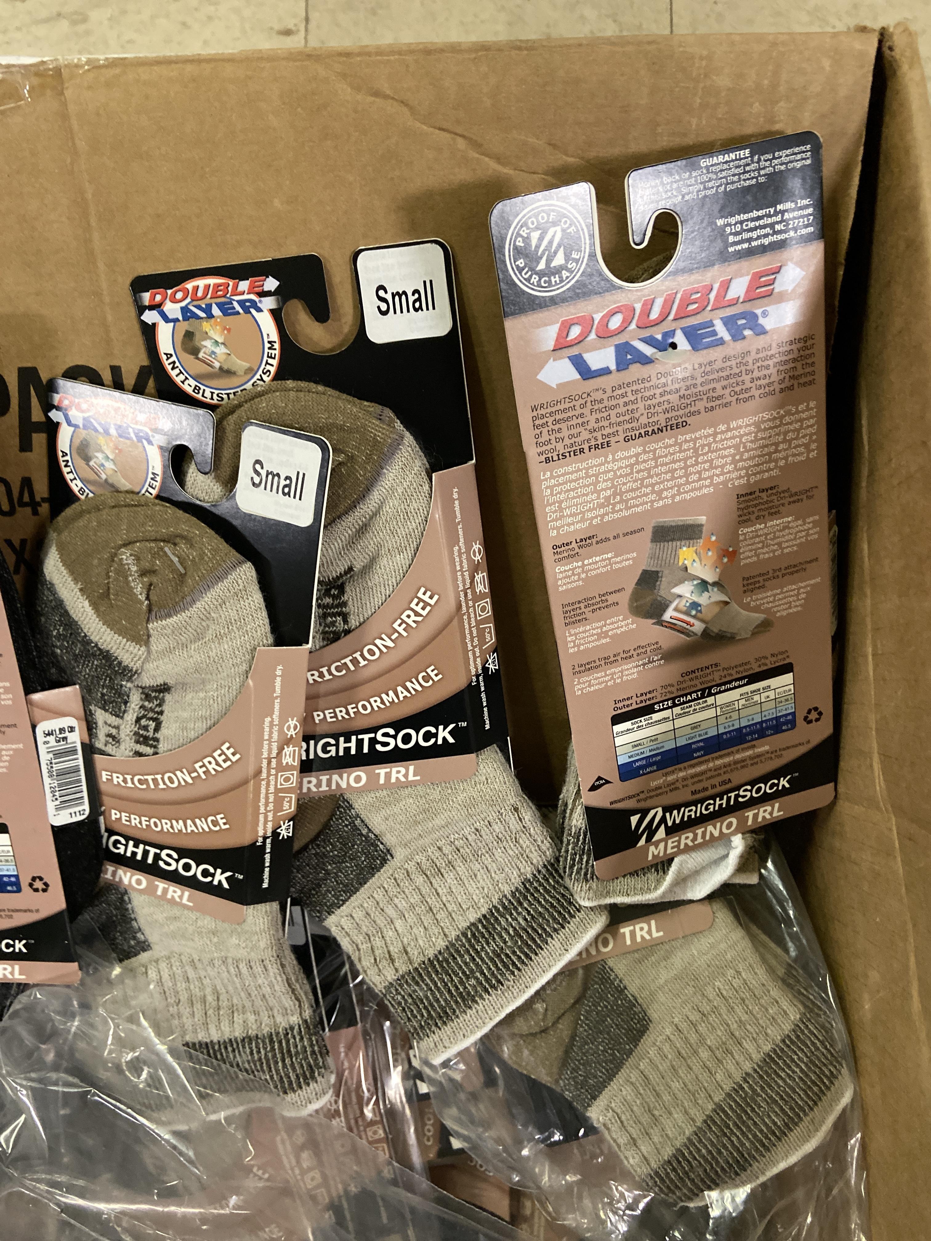 250+ packs of New Socks, Wrightsocks Merino TRL, Double Layer, Black/Gray/Tan - Image 3 of 3