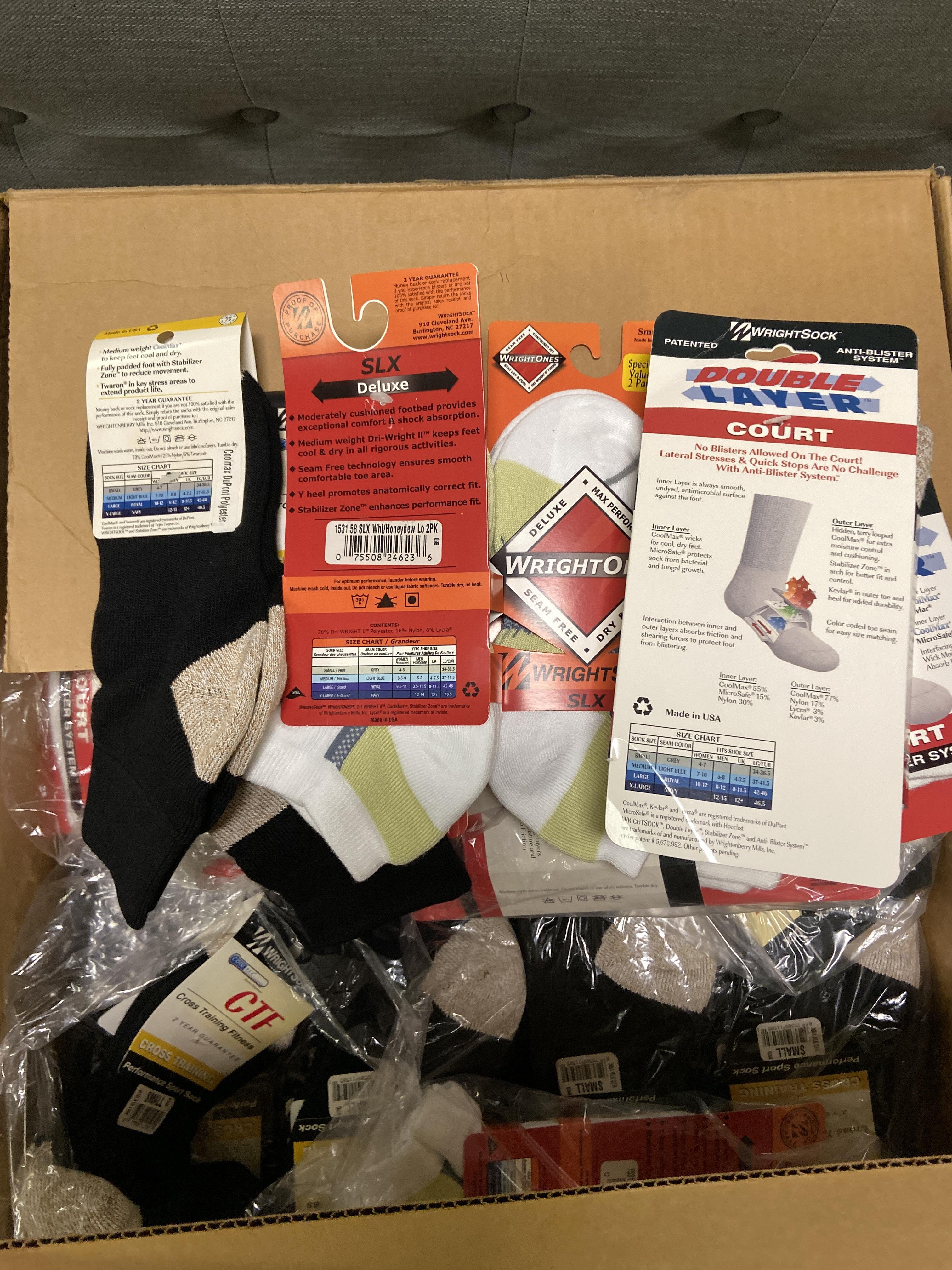 250+ packs of New Socks, Wrightsocks Various Styles, Various Colors - Image 2 of 2