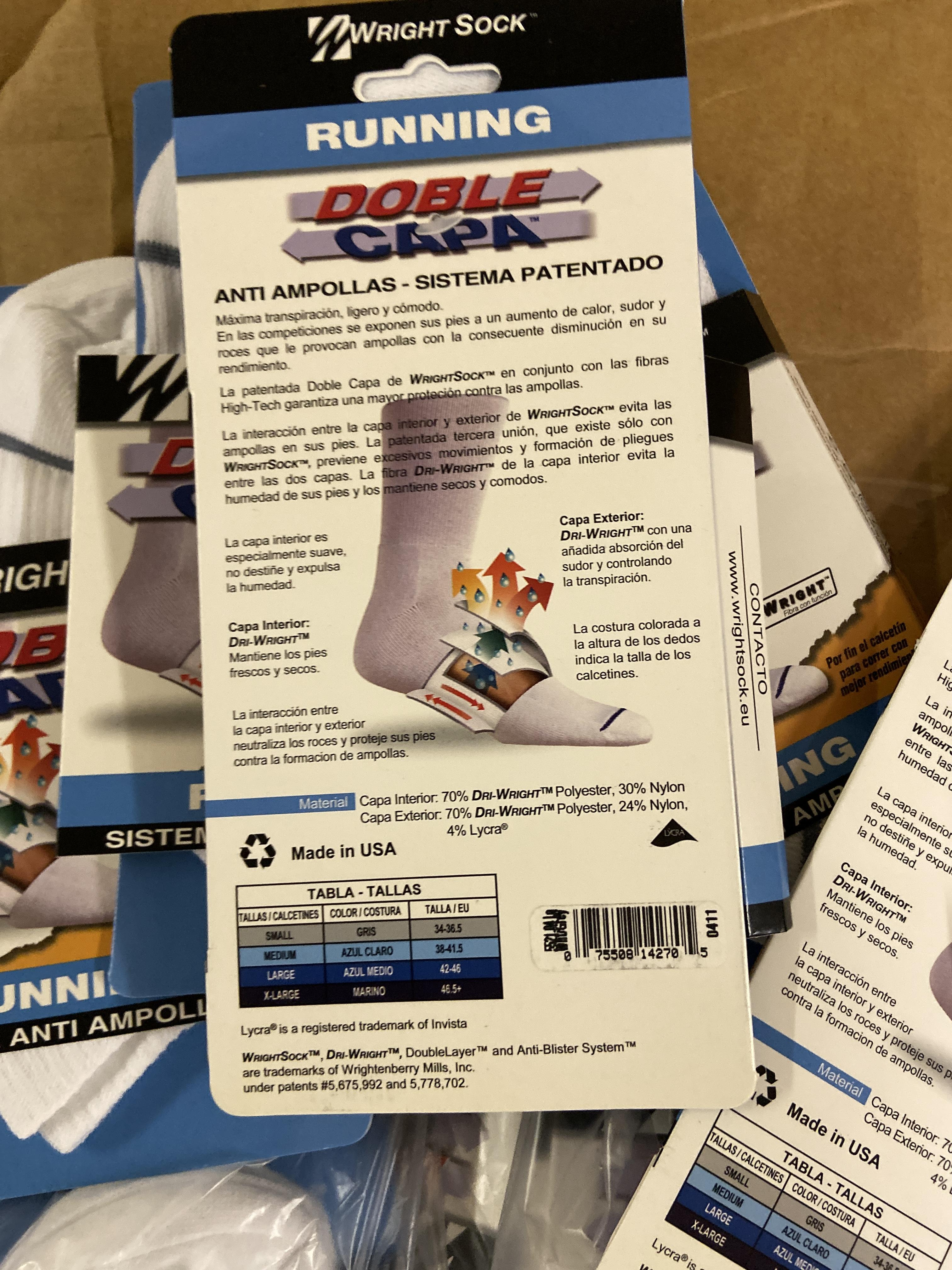 250+ packs of New Socks, Wrightsock Running, Double Layer, White with Gray Stripe - Image 3 of 3