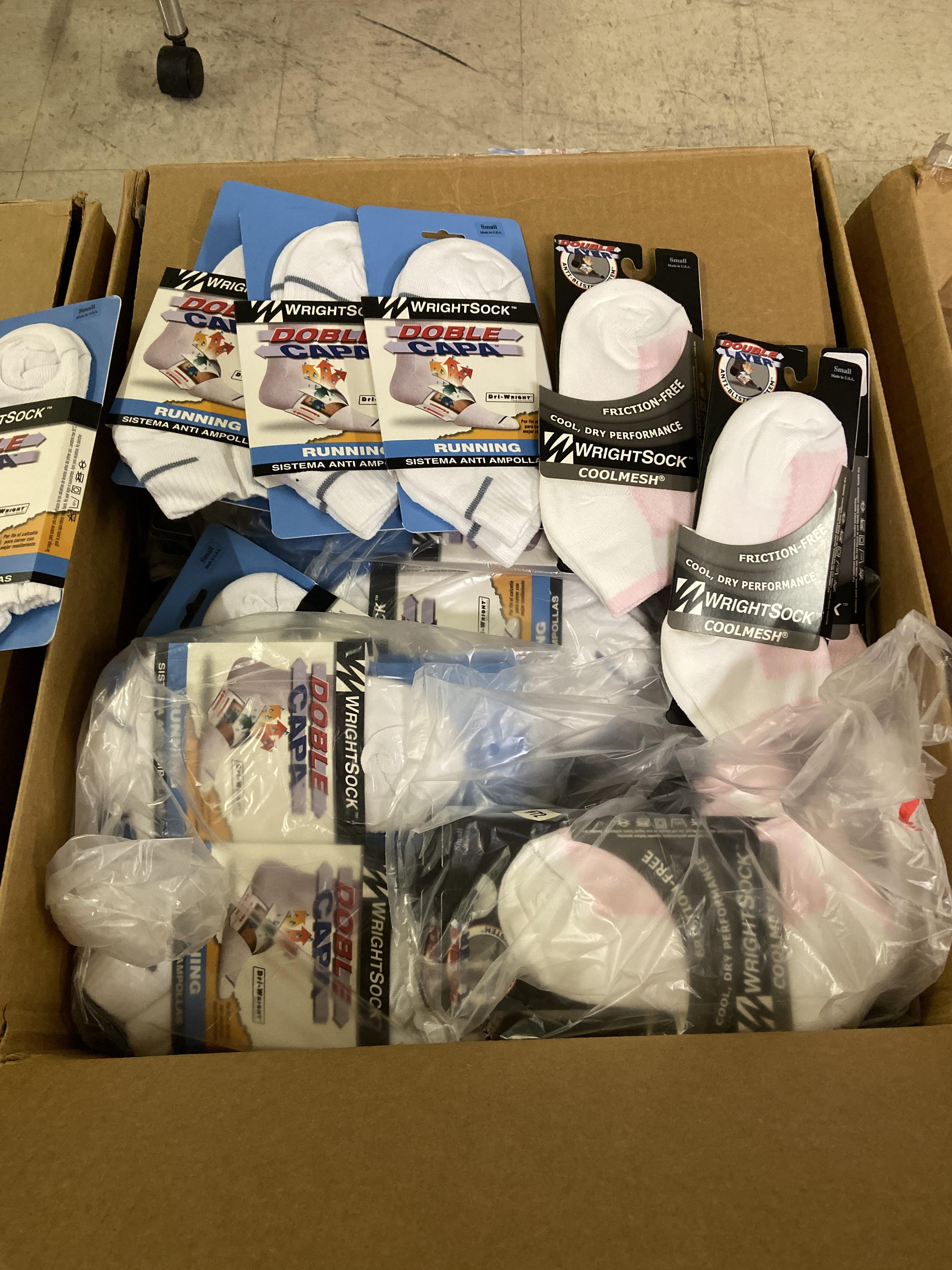 500+ packs of New Socks, Wrightsock Running and Coolmesh, Double Layer, White w. Various Stripes - Image 2 of 7