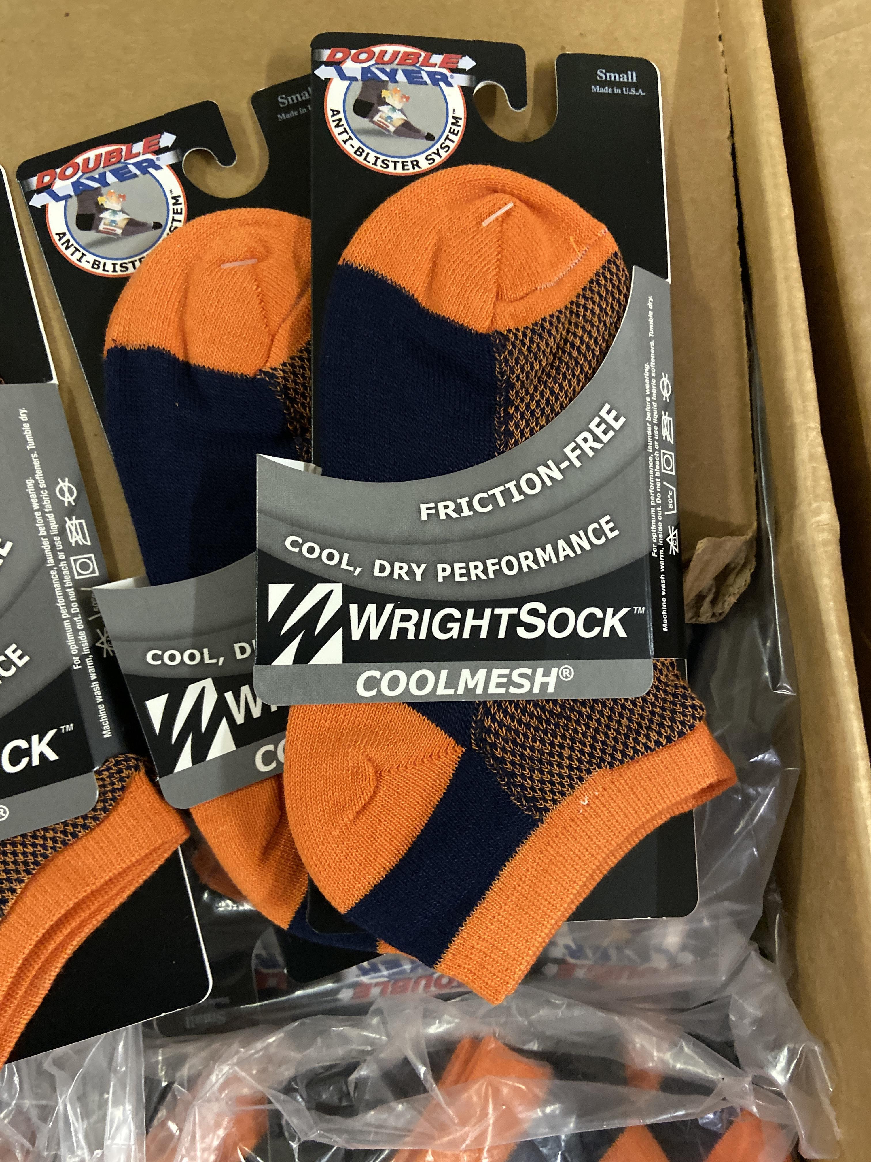 250+ packs of New Socks, Wrightsock Coolmesh, Double Layer, Orange/Black - Image 2 of 3