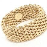 Tiffany & Co Somerset 18K Yellow Gold Mesh Pattern Band Ring, 9.8mm 14.6 Grams, Size 7.5