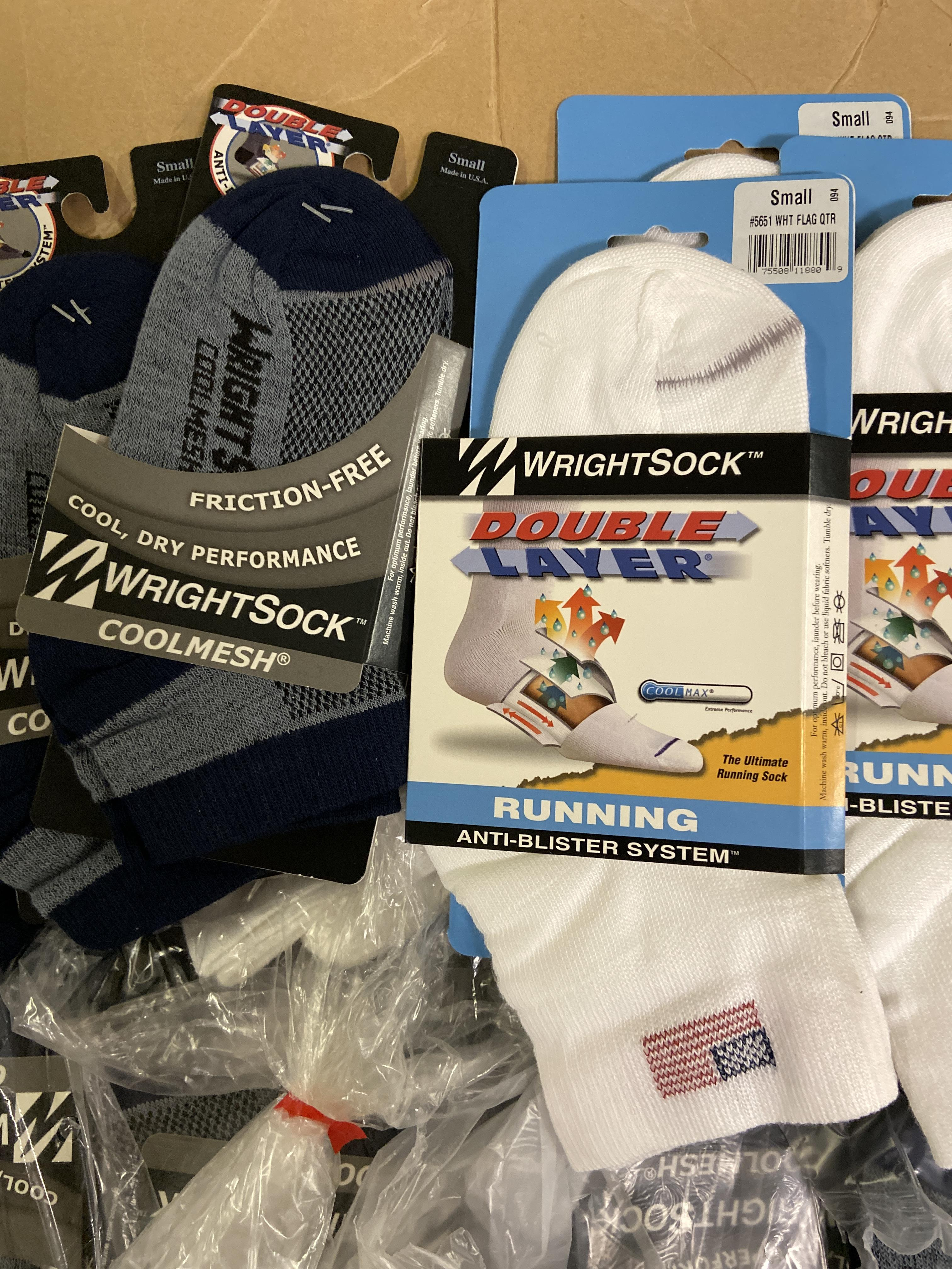 250+ packs of New Socks, Wrightsock Running and Coolmesh, Double Layer, Various Colors - Image 2 of 3
