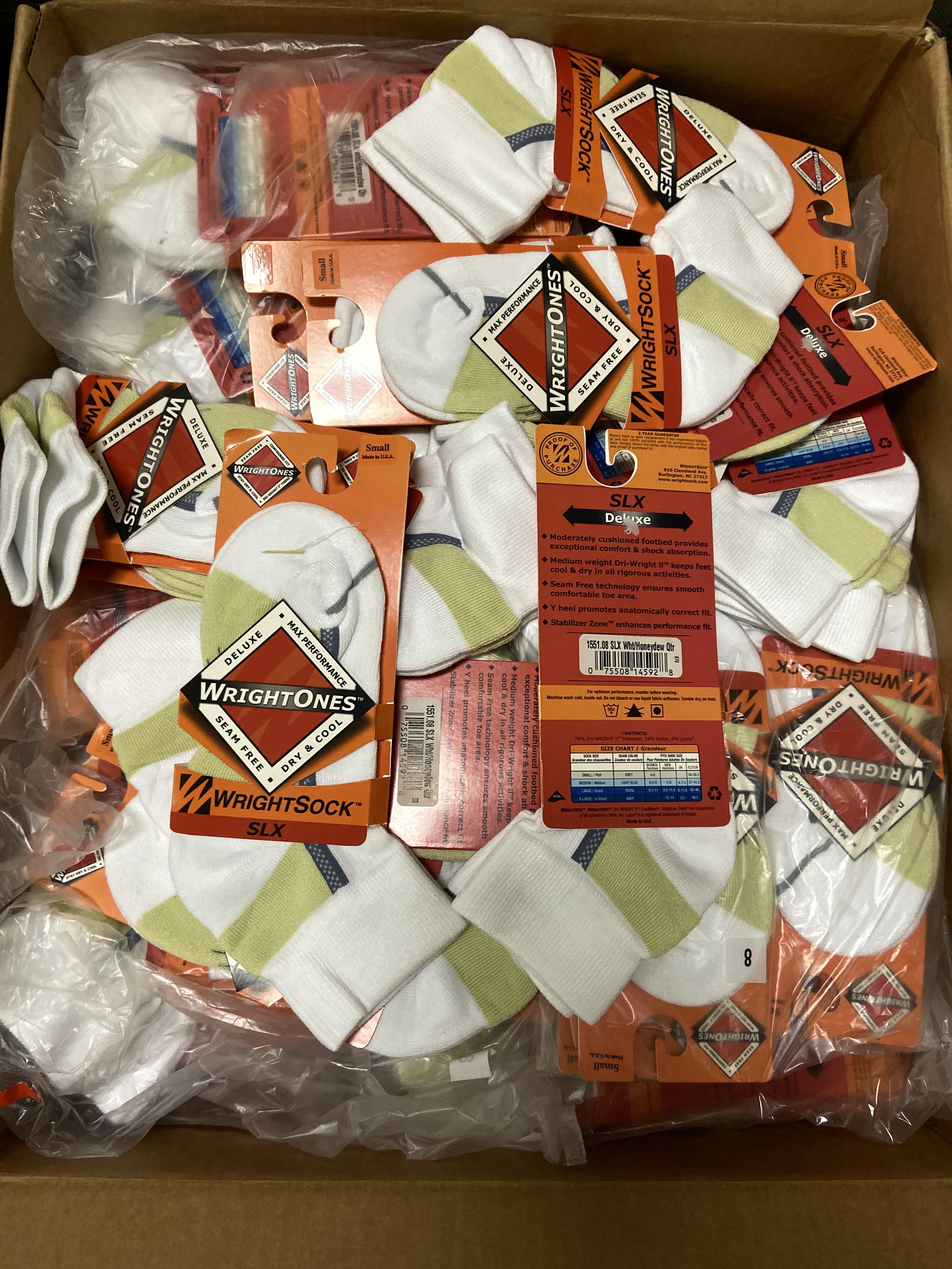 500+ packs of New Socks, Wrightsocks Coolmesh and WrightOnes SLX, Various White Styles - Image 3 of 6