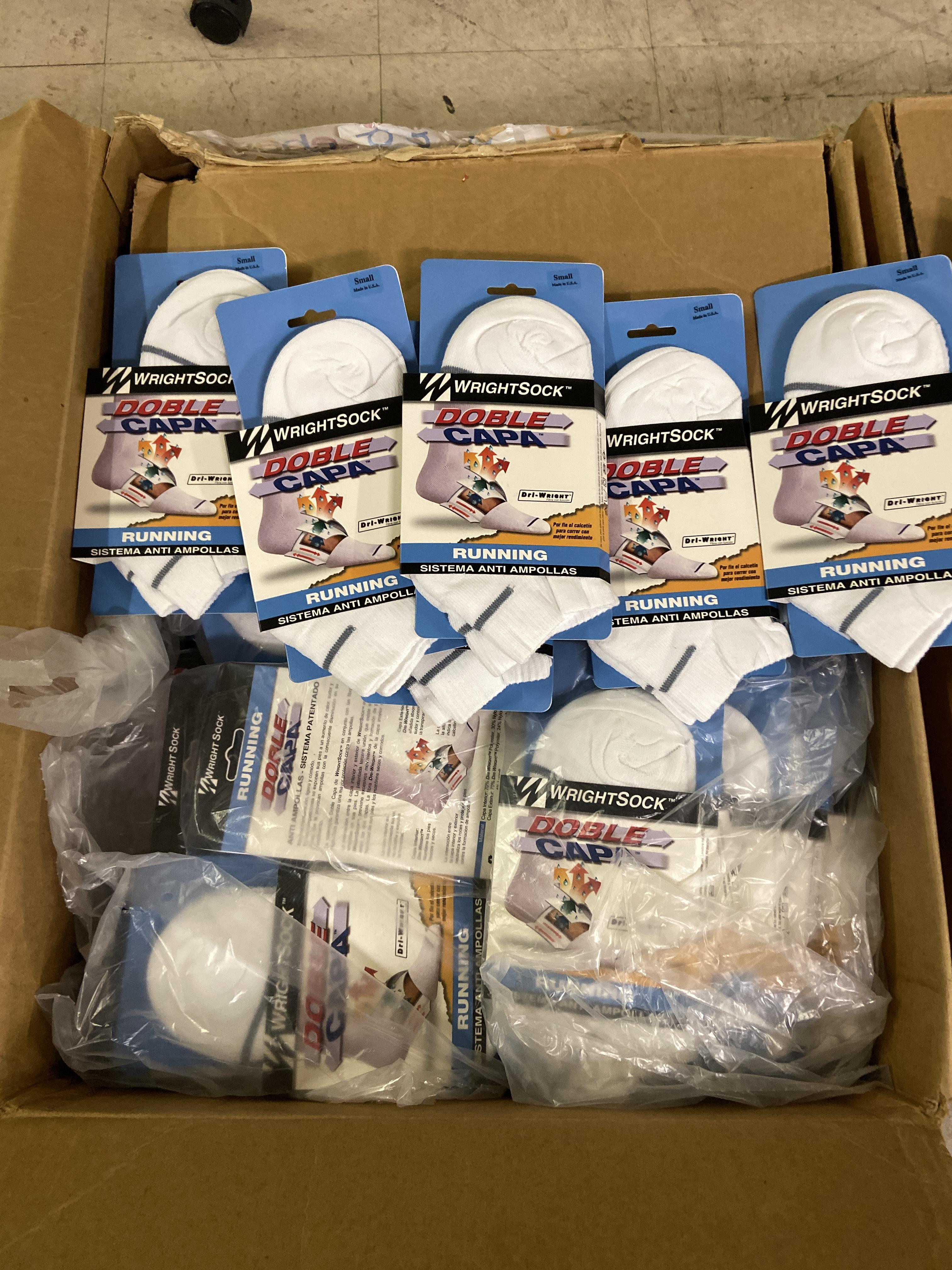 500+ packs of New Socks, Wrightsock Running and Coolmesh, Double Layer, White w. Various Stripes - Image 3 of 7