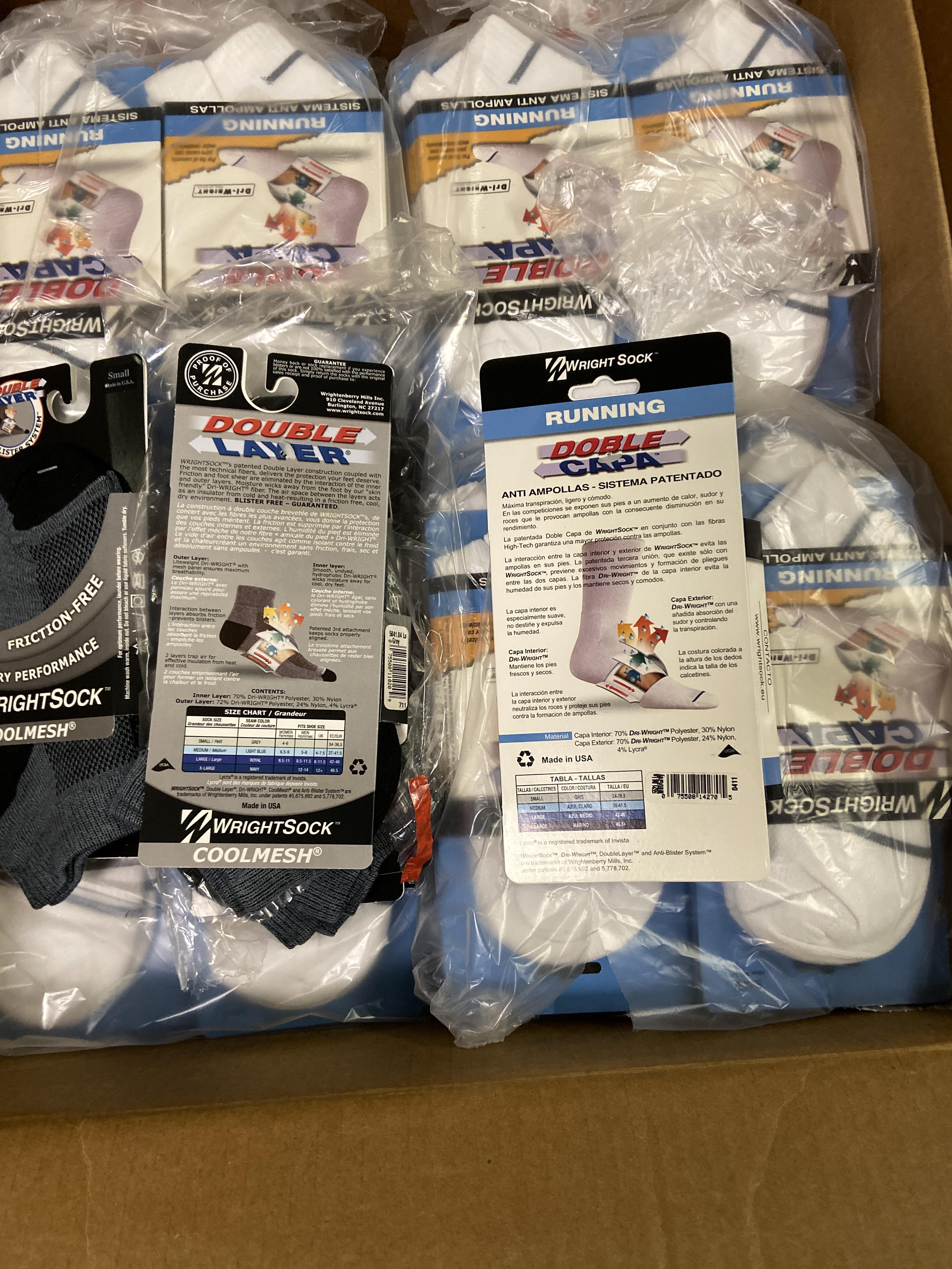 500+ packs of New Socks, Wrightsock Various Styles, Double Layer, Various Colors White/Black/Etc - Image 4 of 7