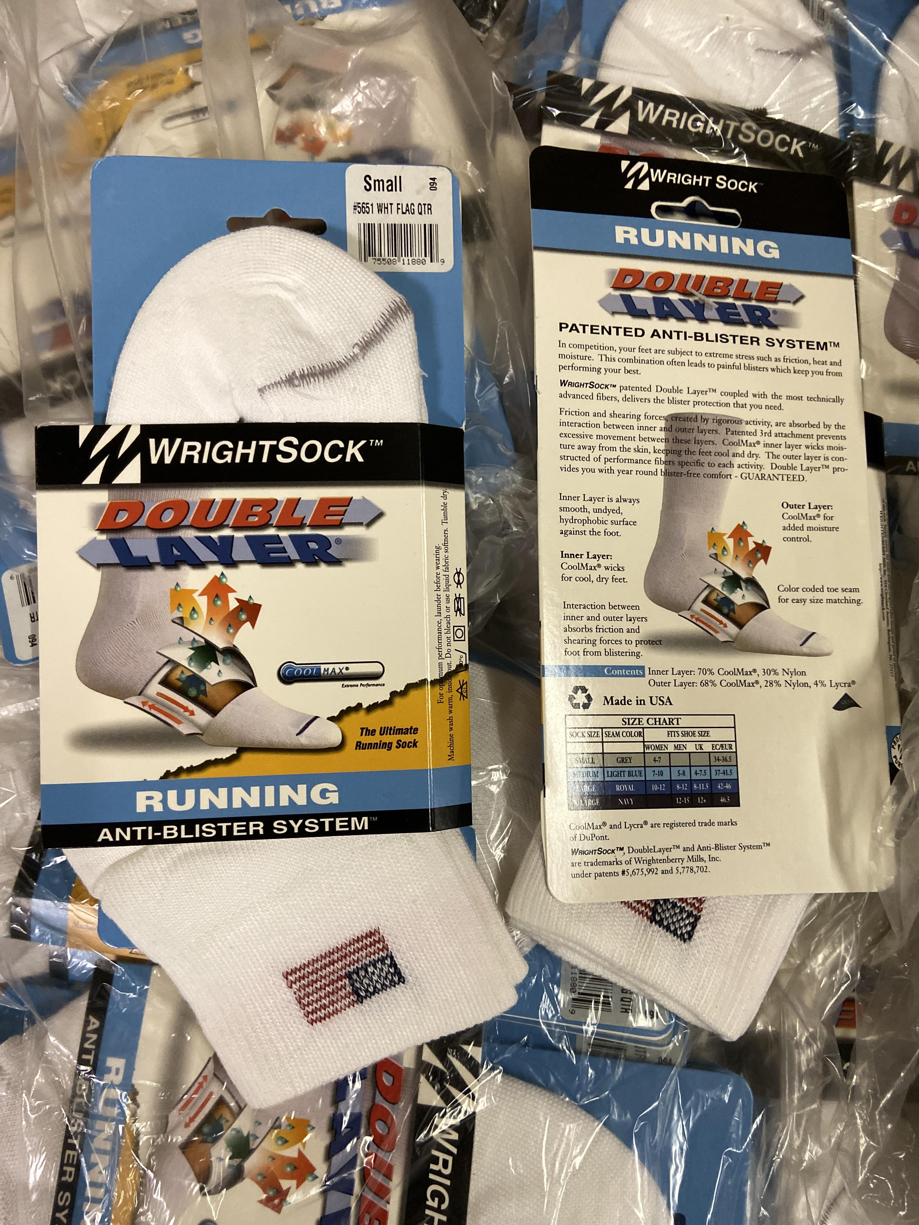 500+ packs of New Socks, Wrightsock Running, Double Layer, USA America Flag White - Image 3 of 5