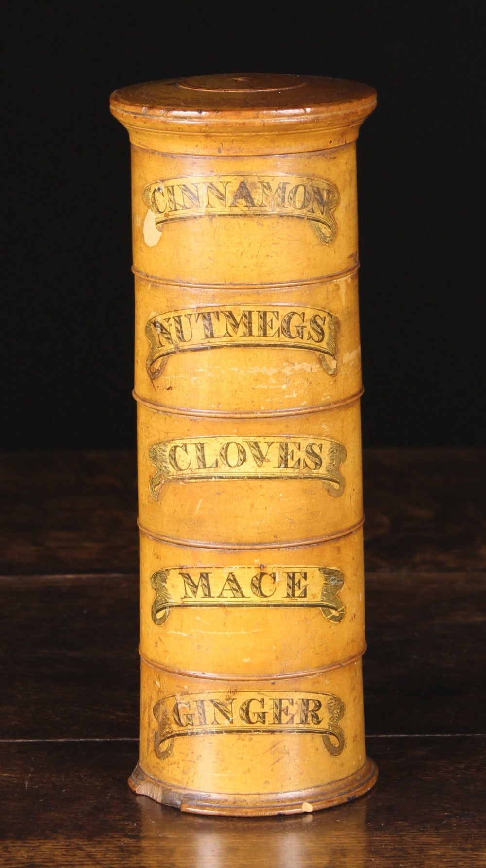 Lot 25 - A 19th Century Turned Treen Spice Tower with paper scrolled banner labels inscribed; 'CINNAMON',