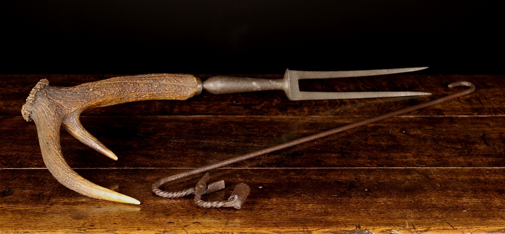 Lot 31 - An Unusual 19th Century Scottish Venison Carving Fork with two steel tines and hinged guard mounted