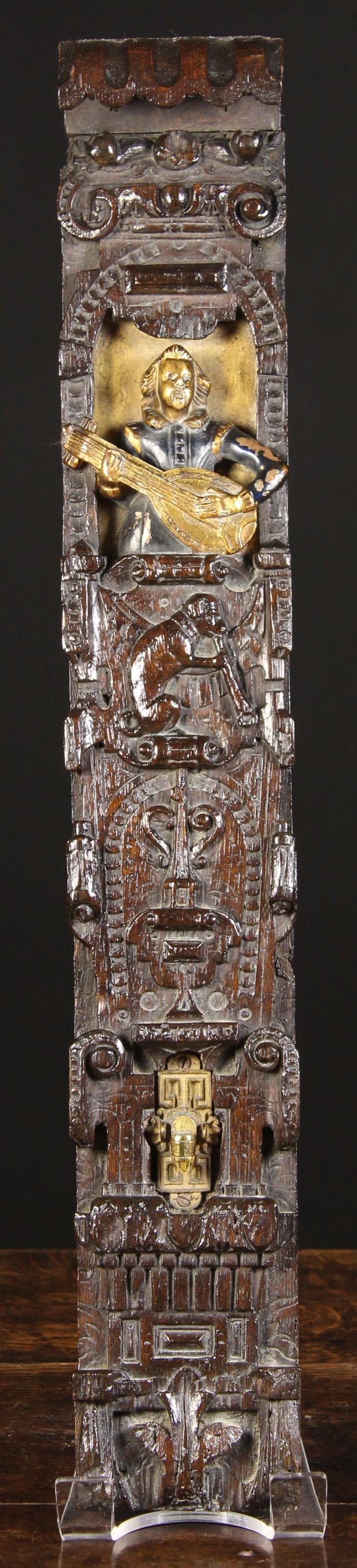 Lot 2 - A Delightful Jacobean Carved & Parcel Gilt Oak Term.