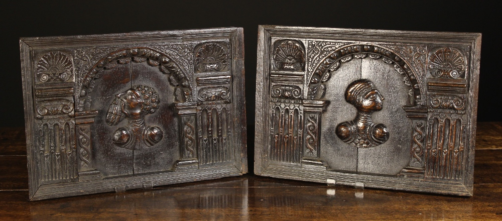 Lot 3 - A Pair of Carved & Arcaded Oak Panel Doors Circa 1600.
