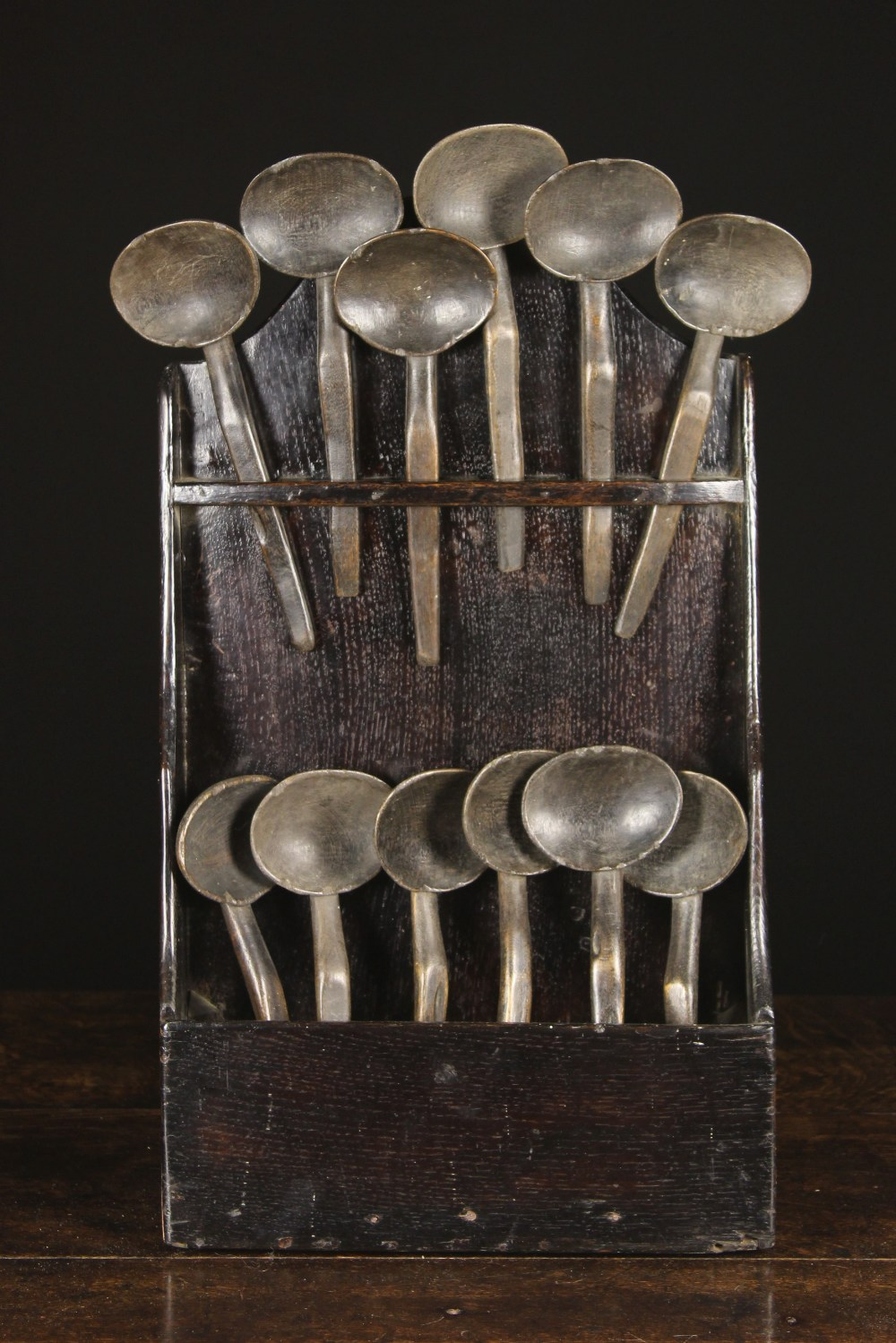 Lot 29 - A Set of Twelve 19th Century Welsh Treen Cowl Spoons, 8½ ins (22 cms) in length,