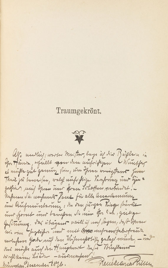 Lot 63 - Rainer Maria Rilke Traumgekrönt. Neue Gedichte. Leipzig, P. Friesenhahn 1897. Signiertes