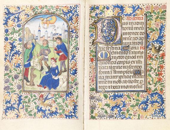 Lot 1 - Lateinisches Stundenbuch Manuskript auf Pergament. Brügge, um 1460-70. Exzeptionell illuminiertes