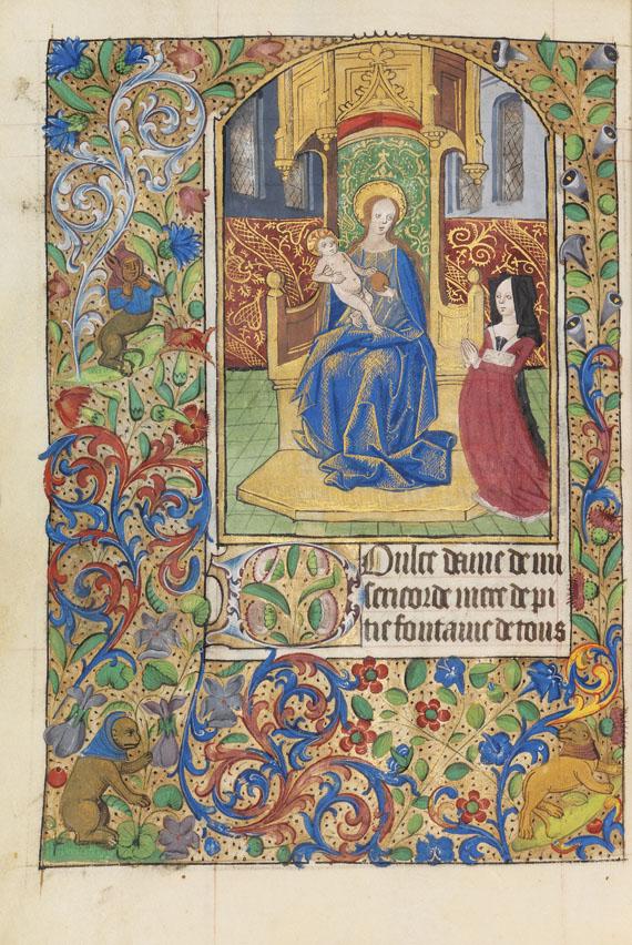 Lot 3 - Lateinisches und französisches Stundenbuch Manuskript auf Pergament. Rouen, um 1470. Hochwertiges