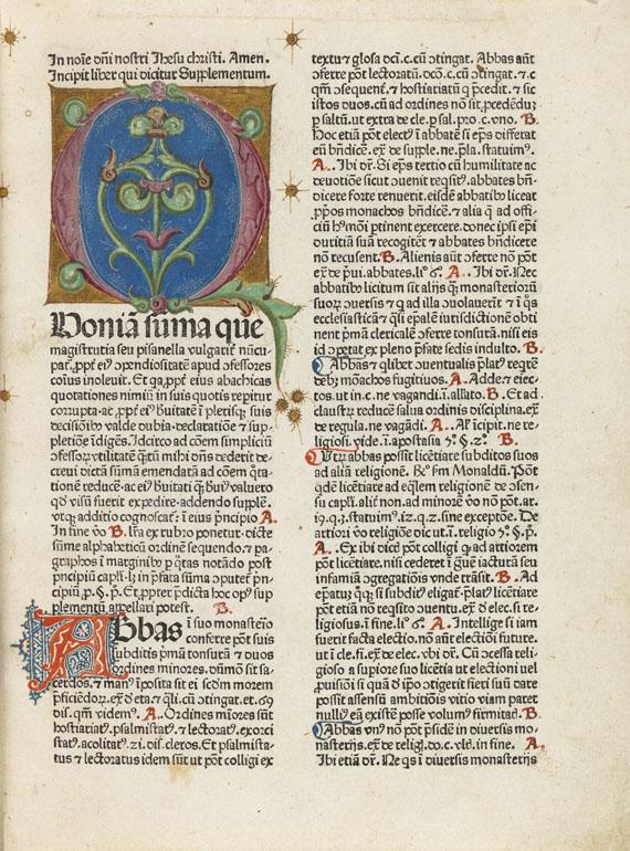 Lot 9 - Nicolaus de Ausmo Supplementum summae Pisanellae. Daran: Astesanus, Canones poenitentiales. -