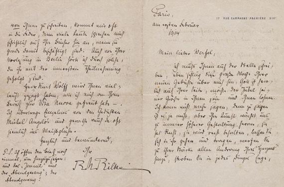Lot 61 - Rainer Maria Rilke (1875-1926) Eigenhändiger Brief mit Unterschrift an Franz Werfel (1890-1945).