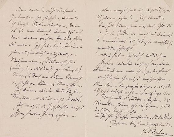 Lot 60 - Johannes Brahms (1833-1897) Eigenhändiger Brief mit Unterschrift. Wien, 11. IX. 1888 (Poststempel