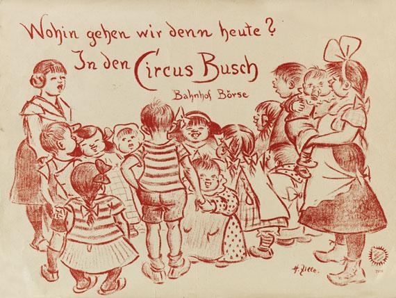 Lot 166 - Heinrich Zille Kindergruppe. Plakat für den Zirkus Busch. Lithographie in Rot bei Adolph