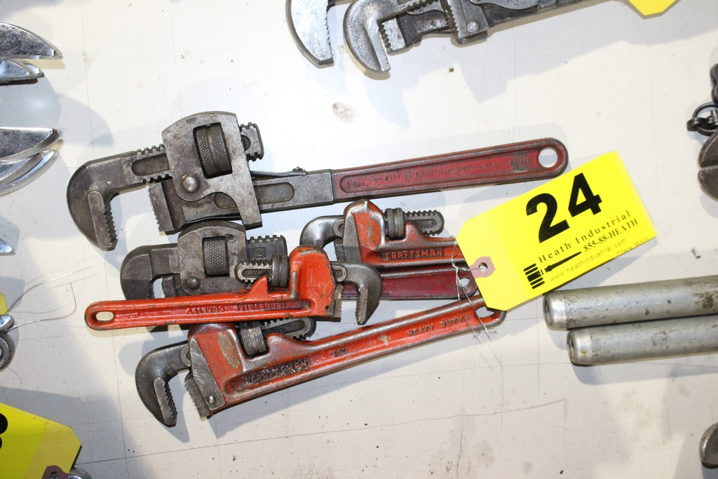 Lot 24 - (5) ASSORTED PIPE WRENCHES