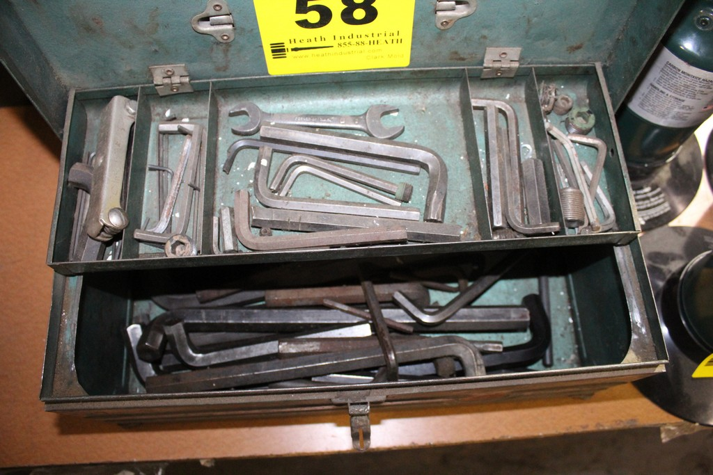 "Lot 58 - 16"" WARDS TOOLBOX WITH ASSORTED ALLEN WRENCHES"