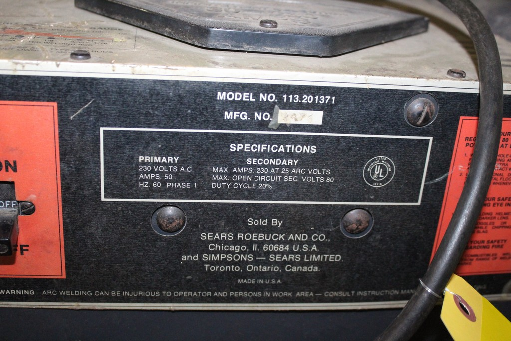 SEARS 113.201371 ARC WELDER WITH LARGE QUANTITY OF WELDING ROD AND CART - Image 3 of 4