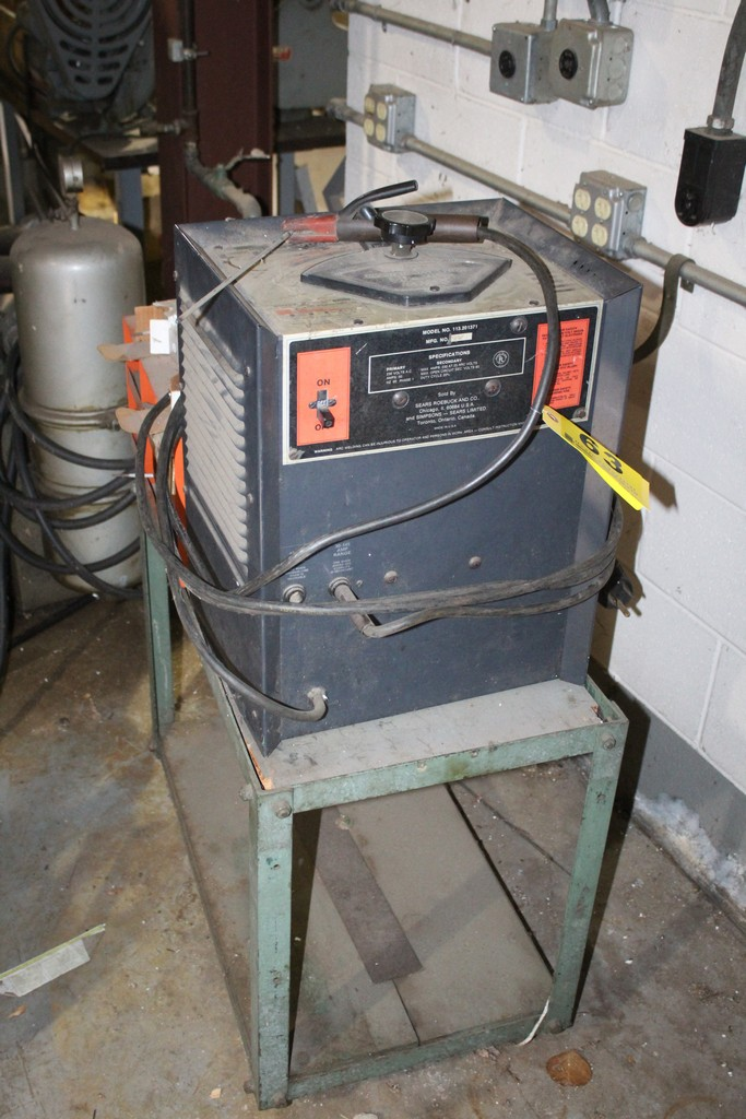 SEARS 113.201371 ARC WELDER WITH LARGE QUANTITY OF WELDING ROD AND CART