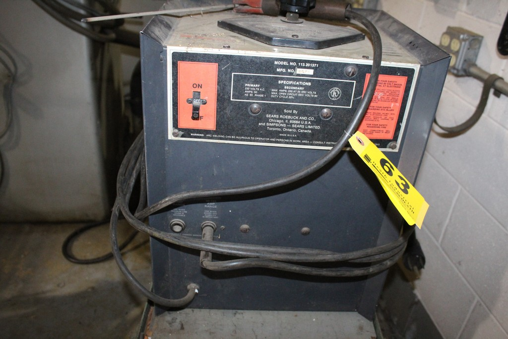 SEARS 113.201371 ARC WELDER WITH LARGE QUANTITY OF WELDING ROD AND CART - Image 2 of 4