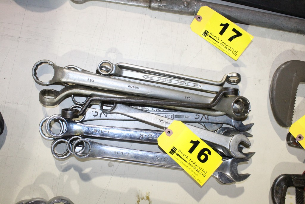 (15) LARGE COMBINATION WRENCHES VARIOUS SIZES