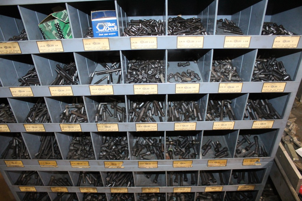 (3) 32 SLOT PIGEON HOLE PARTS CABINETS AND CONTENTS OF SORTED CAP SCREWS - Image 2 of 3