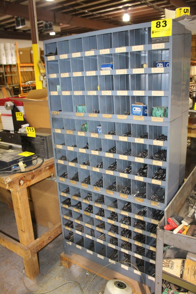 (3) 32 SLOT PIGEON HOLE PARTS CABINETS AND CONTENTS OF SORTED CAP SCREWS