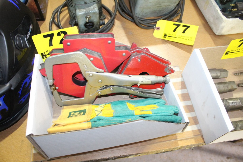 ASSORTED WELDING ACCESSORIES, MAGNETS, CLAMP, AND GLOVES