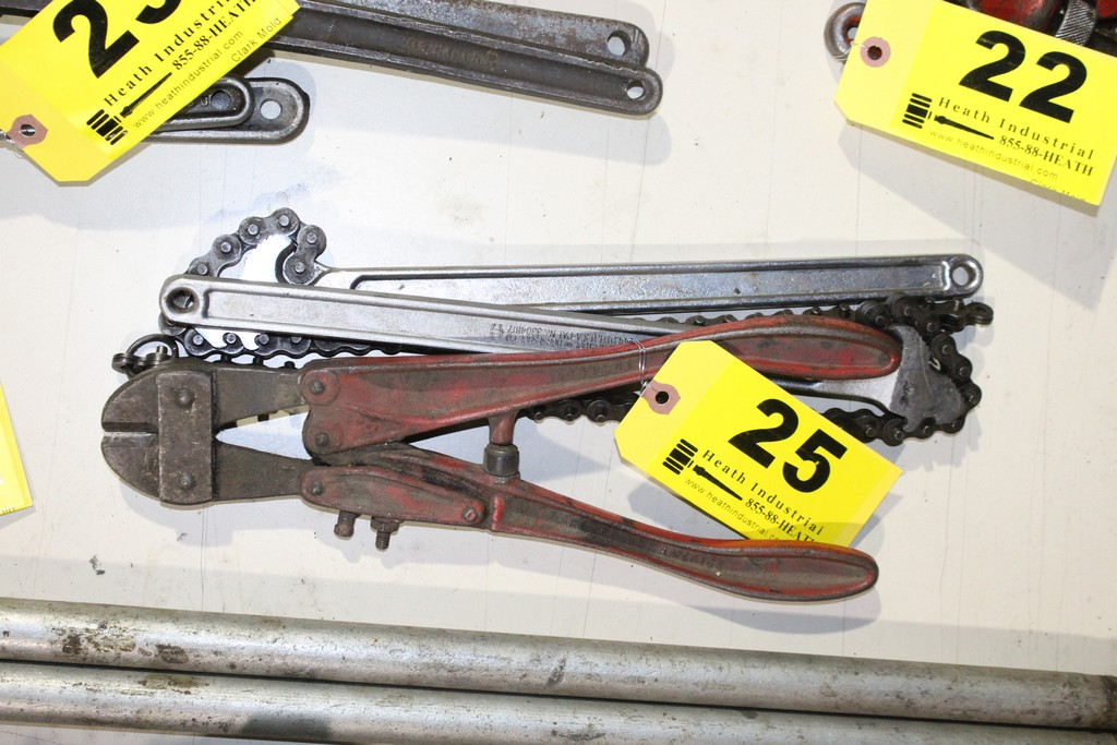 Lot 25 - (2) DIAMALLOY CHAIN WRENCHES AND HK BOLT CUTTERS