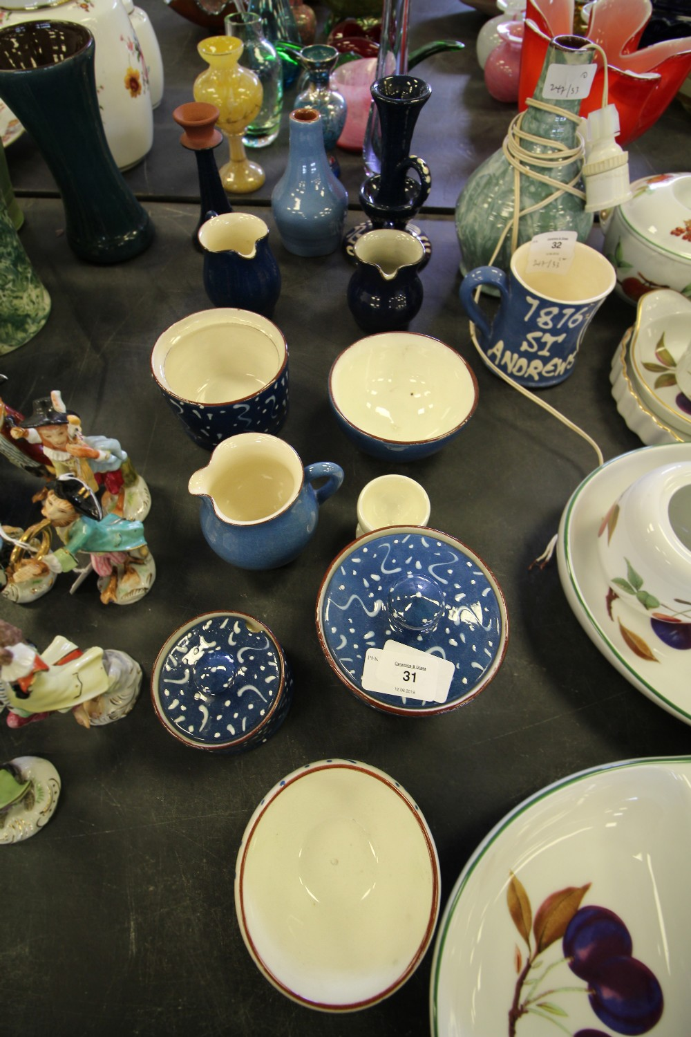 Lot 31 - Quantity of Wetheriggs pottery wares - blue slip ware etc