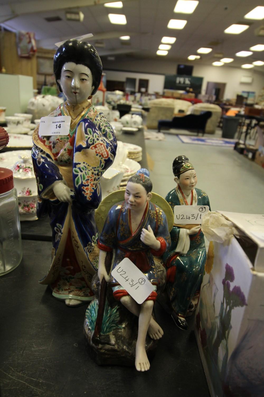 Lot 14 - Japanese Satsuma Figure of Geisha (A/F) & Two Other Girls