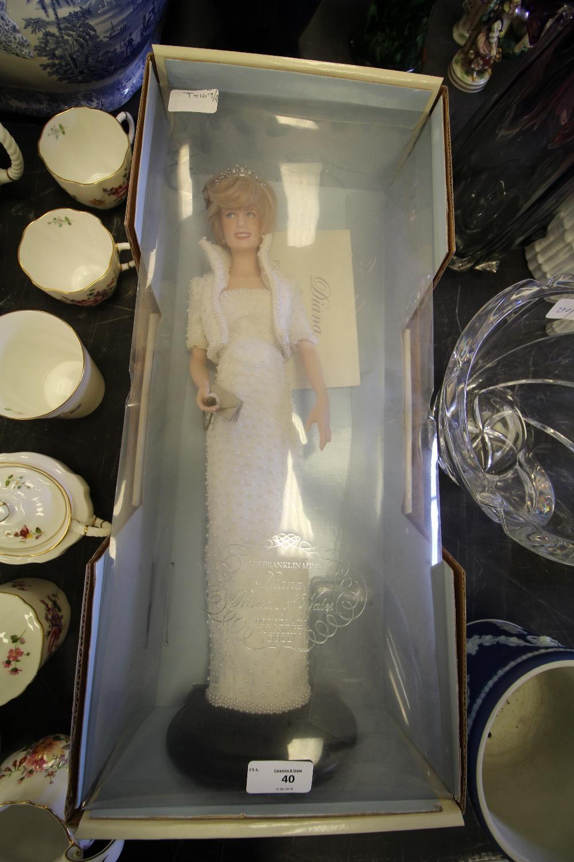 Lot 40 - Franklin Mint Princess Diana porcelain doll and certificate